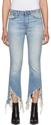 R 13 Blue Kick Fit Torn Jeans