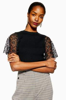 Topshop Lace Sleeve Knitted Jumper