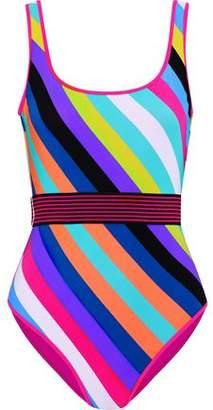 Diane von Furstenberg Belted Striped Swimsuit