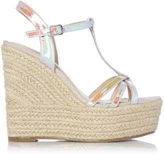 95d1838e2ba7 Next Womens Head Over Heels Karissa Iridescent T-Bar Wedge Sandal