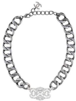 Chanel Crystal & Curb Chain CC Choker