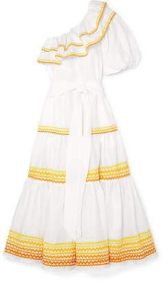 Arden One-shoulder Linen Dress - White