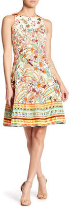Maggy London Printed Cotton Sateen Fit & Flare Dress