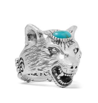 Gucci Wolf's Head Silver-Tone Turquoise Ring
