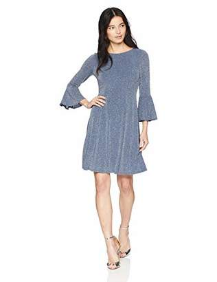 Jessica Howard Women's Petite 3/4 Sleeve Fit and Flare Glitter Knit Dress