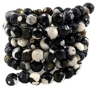 Savvy Cie Black & Ivory Agate Coil Wrap Bracelet