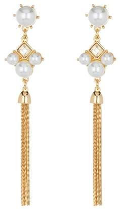 Free Press Faux Pearl & Crystal Chain Drop Earrings