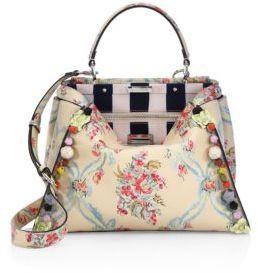 FendiFendi Peekaboo Embellished Floral-Print Leather Satchel