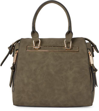 Violet Ray Olive Zip Faux Leather Satchel