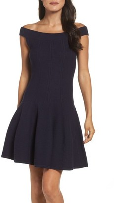 Women's Eliza J Ribbed Fit & Flare Dress $128 thestylecure.com