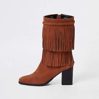 River Island Brown suede fringe block heel boots