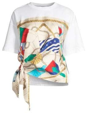 Sandro Josy Silk Print Side Tie Tee