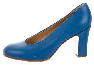Walter Steiger Semi Round-Toe Leather Pumps