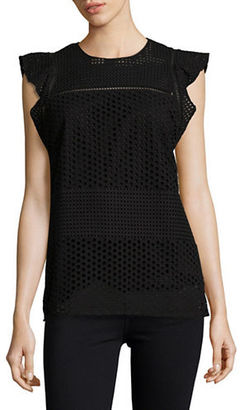 Michael Michael Kors Cotton Eyelet Ruffle Top $135 thestylecure.com