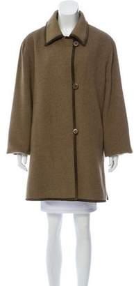 Fleurette Suede-Trimmed Wool-Cashmere Coat