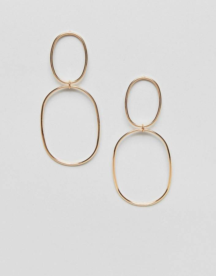 Asos Statement Double Hoop Ball Drop Earrings