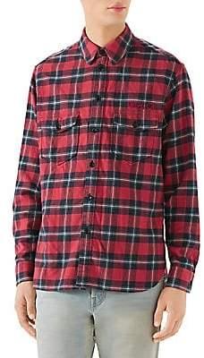 aa59b07f754 Gucci Men s Paramount Logo Check Shirt