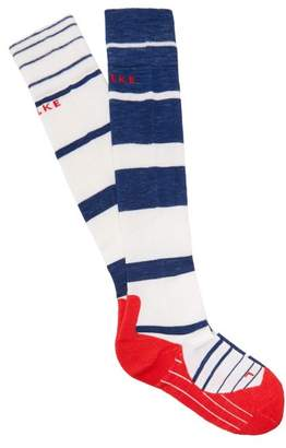 Falke Sk4 Knee High Cushioned Ski Socks - Womens - Blue Stripe