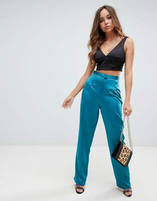 Missguided satin wide leg trousers in teal