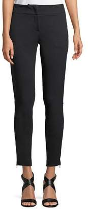 Emporio Armani Fitted Straight-Leg Milano Jersey Sport Pants w/ Zip Detail