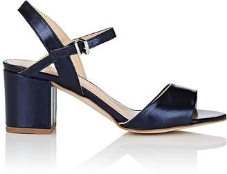 Barneys New York WOMEN'S METALLIC LEATHER ANKLE-STRAP SANDALS