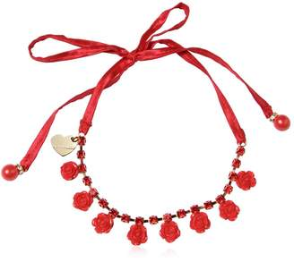 MonnaLisa Necklace With Flowers & Crystals