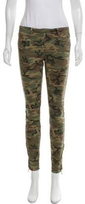 R 13 Camouflage Mid-Rise Skinny Jeans