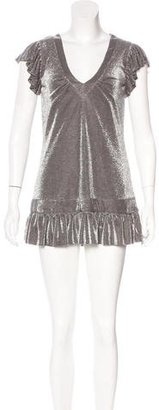 Karen Millen Metallic-Accented Mini Dress $85 thestylecure.com