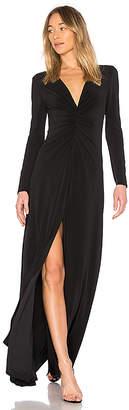 Halston V Neck Ruched Dress