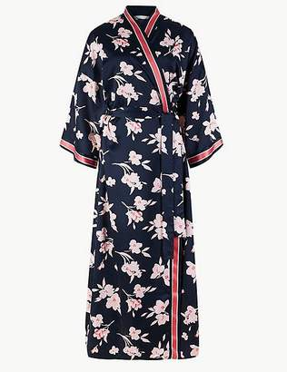 Marks and Spencer Satin Floral Print Wrap Dressing Gown