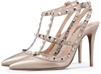 Amy Q Women Sexy Rivets Ankle Strap Back Sling Pointed Toe Stiletto Heel Pumps for Party Dress Shoes PU US 12