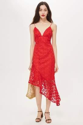 Topshop Lace Plunge Asymmetrical Hem Dress