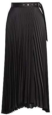 Brunello Cucinelli Women's Grommet Belted Pleated Midi Skirt