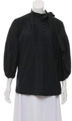 Valentino Long Sleeve Tie Neck Button-Up Top