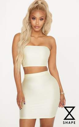PrettyLittleThing Shape Champagne Slinky Metallic Bandeau Crop Top
