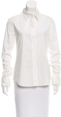 prada Prada Long Sleeve Button-Up Top
