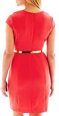 JCPenney Ruffled V-Neck Belted Dress - Petite