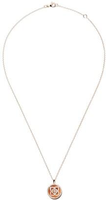De Beers 18kt rose gold Enchanted Lotus Carnelian Medal diamond necklace