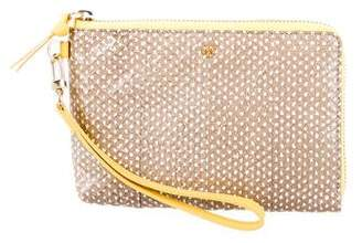 Tory Burch Embossed Leather Wristlet