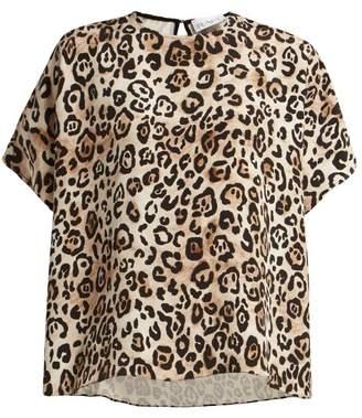 Raey Square Leopard Print Silk Top - Womens - Leopard