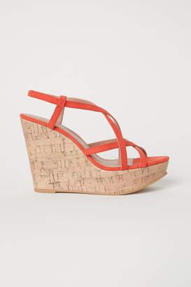 H&M Wedge-heel Sandals - Orange