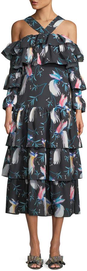 Borgo De Nor Halter-Neck Cold-Shoulder Bird-Print Tiered Ruffle Maxi Dress
