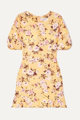 Faithfull The Brand Jeanette Floral-print Crepe Mini Dress - Yellow