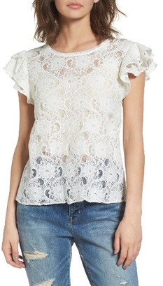 Women's Hinge Ruffle Lace Tee $49 thestylecure.com