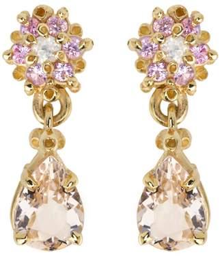 Ruta Reifen Pink Flower Morganite Teardrop Earrings