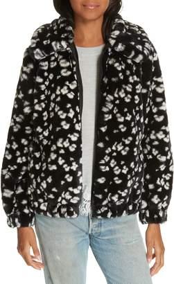 Rebecca Taylor Faux Fur Cheetah Hooded Coat