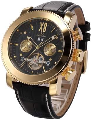 K&S KS Golden Tourbillon Automatic Mechanical Leather Men's Watch KS021