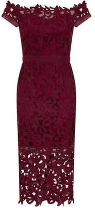 Bardot Womens *Chi Chi London Burgundy Crochet Bodycon Dress