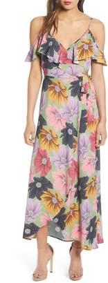 Band of Gypsies London Floral Print Ruffle Cold Shoulder Maxi Dress