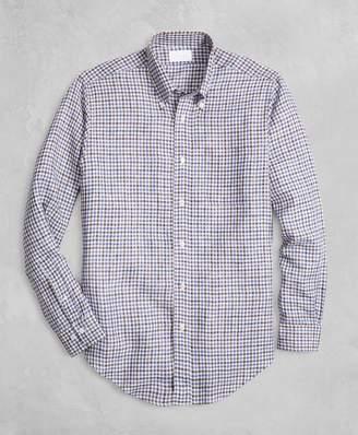 Brooks Brothers Golden Fleece Regent Fit Gingham Linen Sport Shirt
